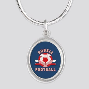 Russia Football Silver Oval Necklace