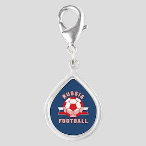 Russia Football Silver Teardrop Charm