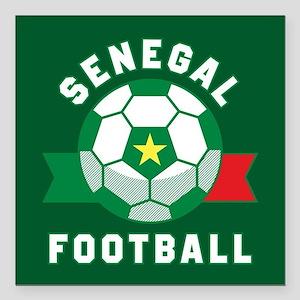 "Senegal Football Square Car Magnet 3"" x 3"""