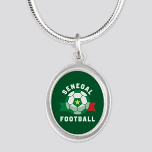 Senegal Football Silver Oval Necklace