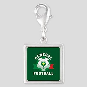 Senegal Football Silver Square Charm