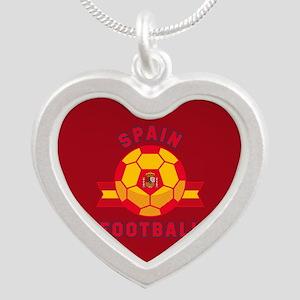 Spain Football Silver Heart Necklace