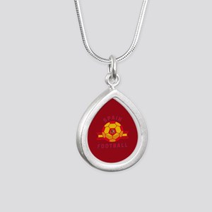 Spain Football Silver Teardrop Necklace