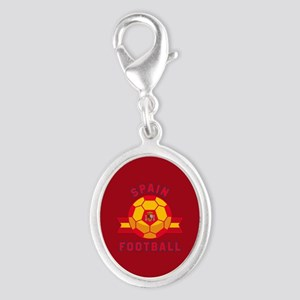 Spain Football Silver Oval Charm