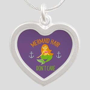 Emojione Mermaid Hair Don't Silver Heart Necklace