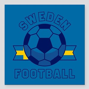 "Sweden Football Square Car Magnet 3"" x 3"""