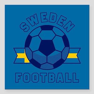 "Sweden Football Square Car Magnet 3"" x 3"""