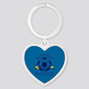 Sweden Football Heart Keychain
