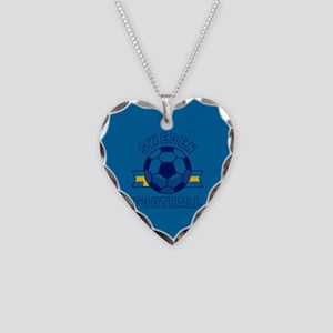 Sweden Football Necklace Heart Charm