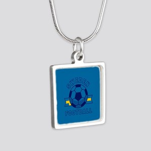 Sweden Football Silver Square Necklace