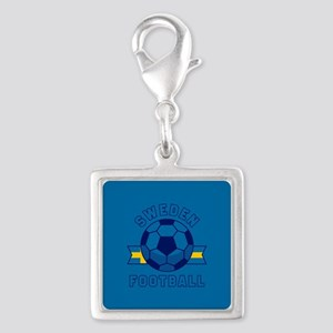 Sweden Football Silver Square Charm