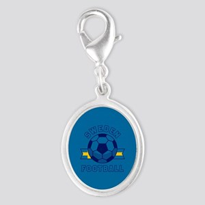 Sweden Football Silver Oval Charm
