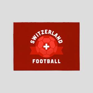 Switzerland Football 5'x7'Area Rug