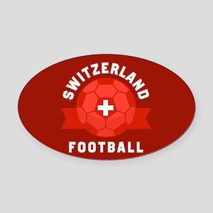 Switzerland Football Oval Car Magnet