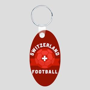 Switzerland Football Aluminum Oval Keychain