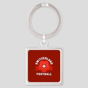 Switzerland Football Square Keychain