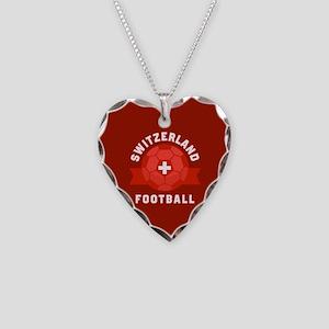 Switzerland Football Necklace Heart Charm