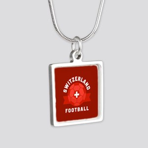 Switzerland Football Silver Square Necklace