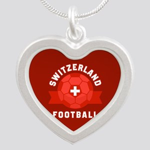Switzerland Football Silver Heart Necklace