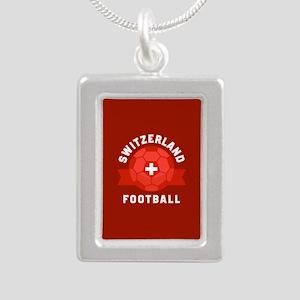 Switzerland Football Silver Portrait Necklace