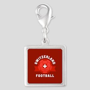 Switzerland Football Silver Square Charm