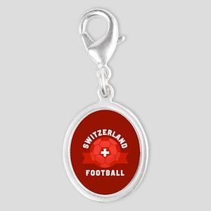 Switzerland Football Silver Oval Charm