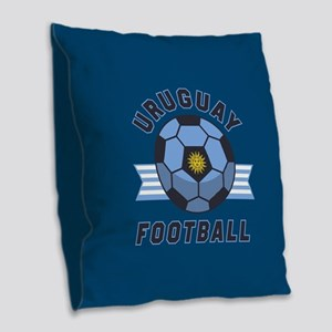 Uruguay Football Burlap Throw Pillow