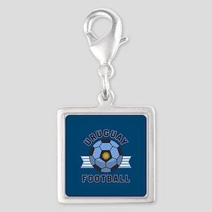 Uruguay Football Silver Square Charm