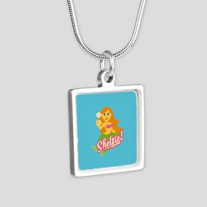 Emojione Mermaid Shelfie Silver Square Necklace
