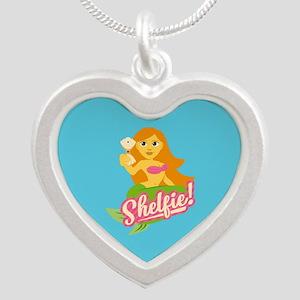 Emojione Mermaid Shelfie Silver Heart Necklace