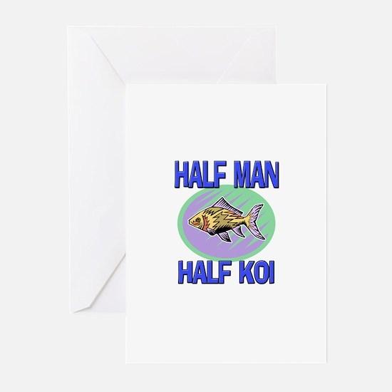 Half Man Half Koi Greeting Cards (Pk of 10)