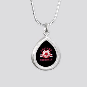 England Football Silver Teardrop Necklace