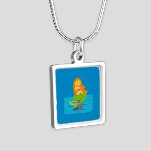 Emojione Mermaid SMH Silver Square Necklace