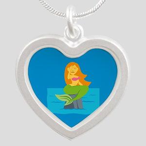 Emojione Mermaid SMH Silver Heart Necklace