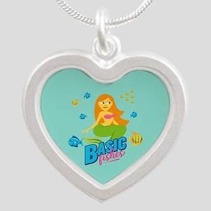 Emojione Mermaid Basic Fishe Silver Heart Necklace