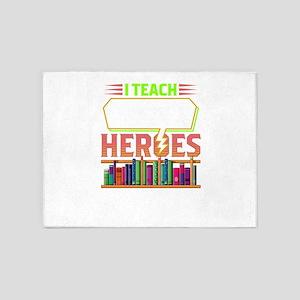 Teacher I Teach Super Heroes 5'x7'Area Rug