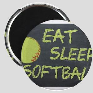 eat, sleep, softball Magnets