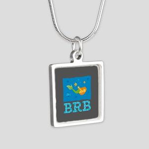 Emojione Mermaid BRB Silver Square Necklace