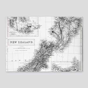 Vintage Map of New Zealand (1854) B 5'x7'Area Rug