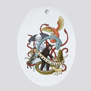 I Heart Cryptozoology Oval Ornament