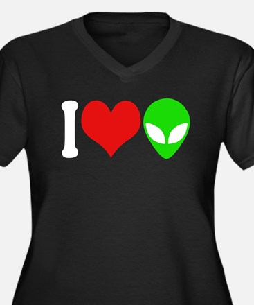 I Love Aliens (design) Women's Plus Size V-Neck Da