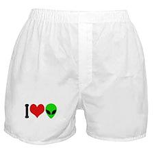 I Love Aliens (design) Boxer Shorts