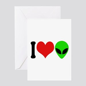I Love Aliens (design) Greeting Card