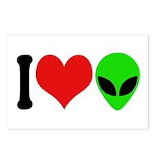 I Love Aliens (design) Postcards (Package of 8)