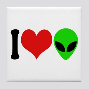 I Love Aliens (design) Tile Coaster