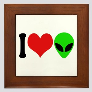 I Love Aliens (design) Framed Tile
