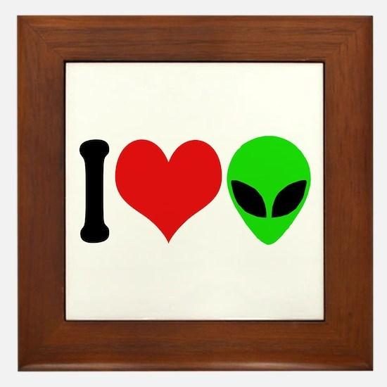 I Love Aliens (design) Framed Tile