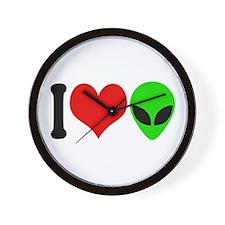 I Love Aliens (design) Wall Clock