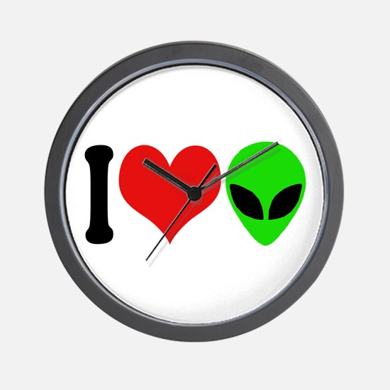 I Love Aliens (design) Wall Clock