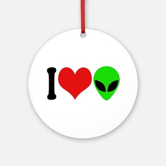 I Love Aliens (design) Ornament (Round)